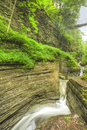 Watkins glen gorge waterfalls at long exposure photography Royalty Free Stock Image
