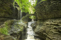 Watkins glen gorge waterfalls at long exposure photography Royalty Free Stock Photo