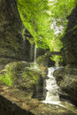 Watkins glen gorge waterfalls at long exposure photography Royalty Free Stock Images