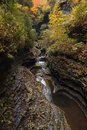 Watkins glen waterfalls in new york during fall a beautiful mile long gorge with dozens of Royalty Free Stock Image