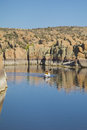 Watson lake kayaking on scenic near prescott arizona with interesting granite rock formations Stock Photography