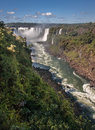 Watterfalls in foz do iguassu argentina brazil the devils throat large waterfalls falling between the rock walls the canion of Royalty Free Stock Image
