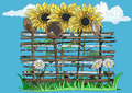 Wattle fence sunflowers and camomiles drawing on which symbols of ukraine are represented a Stock Images