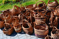 Wattled baskets handwork of a different form and the size are exposed in the market for sale Stock Photography