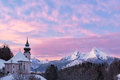 Watzmann at sunset with church, Bavaria, Berchtesgaden, Germany Alps Stock Photography
