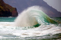 Wave breaking on shoreline. Royalty Free Stock Photo