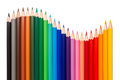 Wave of colored pencils Royalty Free Stock Photo