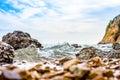 Wave crashing on the rock coast Royalty Free Stock Photo