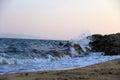 Wave crashing on rock Royalty Free Stock Photo