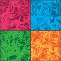Wave crazy color set frame seamless pattern