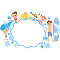 Wave frame and family Royalty Free Stock Photo