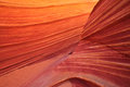 The wave glowing sandstone is an eroded formation situated in border area of arizona utah in coyote buttes north which are part of Stock Photo
