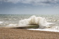 Wave great the sea coast in hastings Royalty Free Stock Images