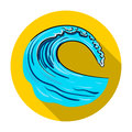Wave icon in flat style isolated on white background. Surfing symbol stock