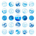 Wave Icons Set. Water Symbol or Logo design. Ocean, Sea, Beach. Royalty Free Stock Photo