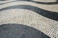Wave motif tiles at senado square macau largo do senate portuguese pavement Royalty Free Stock Photography