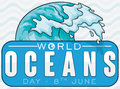 Wave over a Commemorative Label for World Ocean Day, Vector Illustration