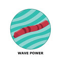 Wave power renewable energy sources part isometric illustration of a generator works in small size Stock Image
