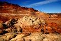 Wave prehistoric sandstone monoliths in northern arizona desert Royalty Free Stock Photos
