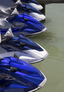 Wave runners or jet ski a group of on the dock waiting for riders Royalty Free Stock Image