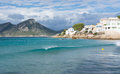 Wave in sant elm of turquoise water majorca october Royalty Free Stock Image
