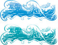Wave sea waves in blue and turquoise illustration Stock Image