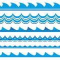 Wave set. Waves seamless pattern. Sea and ocean waves isolated on white background. Vector illustration.