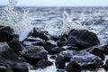 Wave splash and stones