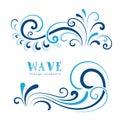 Wave swirls icons wavy shapes decorative on white Royalty Free Stock Photos