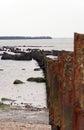 Wavebreakers and cliff on heligoland island Stock Photo