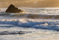 Waves beach detail beautiful sunset Royalty Free Stock Photography