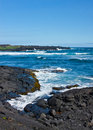 Waves on Black Volcanic Rock Royalty Free Stock Photo