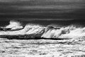Waves in black and white, Pacific Ocean Royalty Free Stock Photo