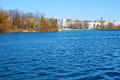 Waves at the city reservoir an early spring seasons khmelnytsky ukraine Stock Photo