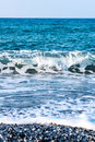 Waves coming in, Mediterranean Sea. Royalty Free Stock Photo