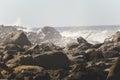 Waves crashing against rocks Royalty Free Stock Photo