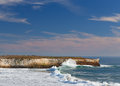 Waves crashing ashore at wilder state beach near santa cruz california Stock Image