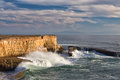 Waves crashing ashore at wilder state beach near santa cruz california Stock Images