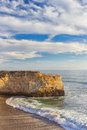 Waves crashing ashore at wilder state beach vertical image near santa cruz california Stock Photo