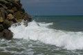 Waves Hitting Rocks At Sea Shore