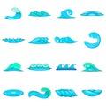 Waves icons set, cartoon style Royalty Free Stock Photo