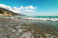 Waves at italian coast meediterranean sea liguria italy Stock Images