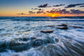 Waves in the Pacific Ocean at sunset, in Laguna Beach Royalty Free Stock Photo