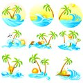 Waves with palm tree easy to edit vector illustration of Stock Photos