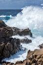 Waves pounding the coastline at capo testa sardinia italy Royalty Free Stock Photos