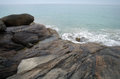 Waves and rocks on the ocean from above sri lanka Royalty Free Stock Images