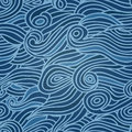 Waves seamless pattern, deep sea background