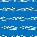 Waves seamless pattern of pretty white capped in a blue ocean or sea vector illustration in square format Royalty Free Stock Image