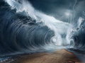 Waves the seas are being parted Royalty Free Stock Images