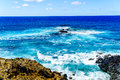 Waves of the south pacific ocean at easter island chile Stock Image
